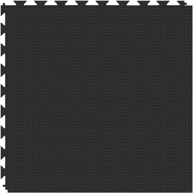 Tuff Seal Hidden Interlock Vinyl Floor Tile, Color: Black, Pattern: Marquis