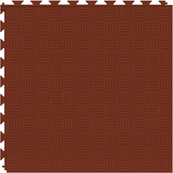 Tuff Seal Hidden Interlock Vinyl Floor Tile, Color: Red Brick, Pattern: Marquis