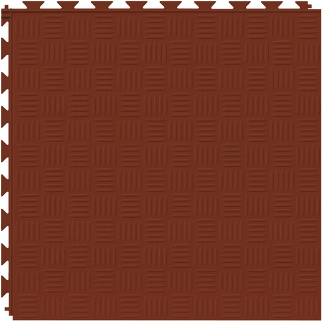 Tuff Seal Hidden Interlock Vinyl Floor Tile, Color: Red Brick, Pattern: Marquis