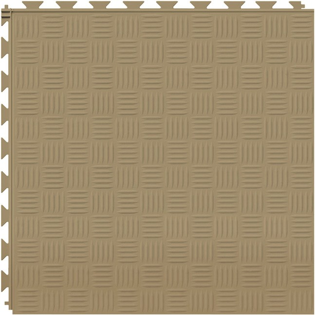 Tuff Seal Hidden Interlock Vinyl Floor Tile, Color: Caramel, Pattern: Marquis
