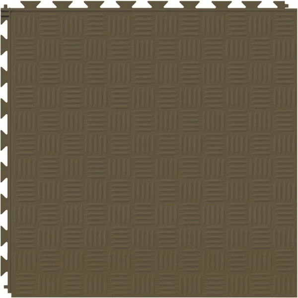 Tuff Seal Hidden Interlock Vinyl Floor Tile, Color: Chocolate, Pattern: Marquis