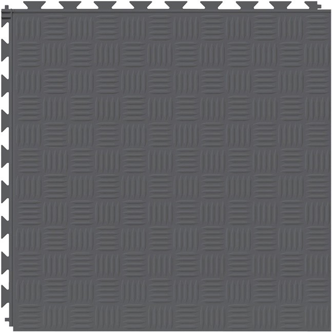 Tuff Seal Hidden Interlock Vinyl Floor Tile, Color: Dark Gray, Pattern: Marquis