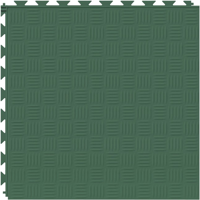 Tuff Seal Hidden Interlock Vinyl Floor Tile, Color: Evergreen, Pattern: Marquis