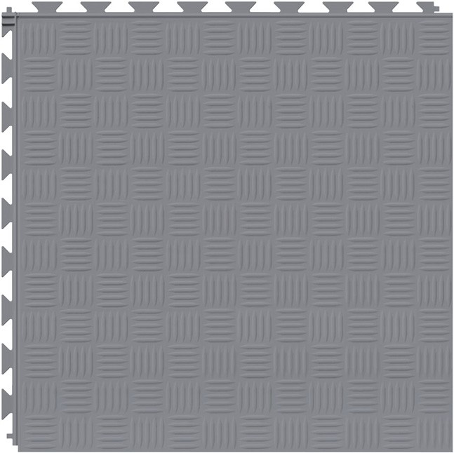 Tuff Seal Hidden Interlock Vinyl Floor Tile, Color: Light Gray, Pattern: Marquis