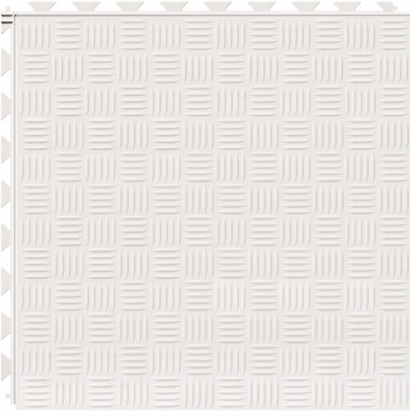 Tuff Seal Hidden Interlock Vinyl Floor Tile, Color: White, Pattern: Marquis