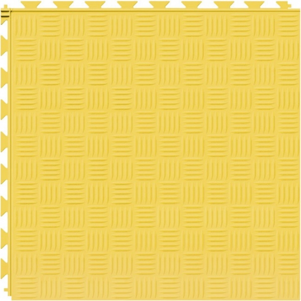 Tuff Seal Hidden Interlock Vinyl Floor Tile, Color: Yellow, Pattern: Marquis