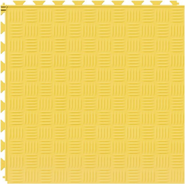 Tuff Seal Hidden Interlock Vinyl Floor Tile, Color: Yellow, Pattern: Marquis