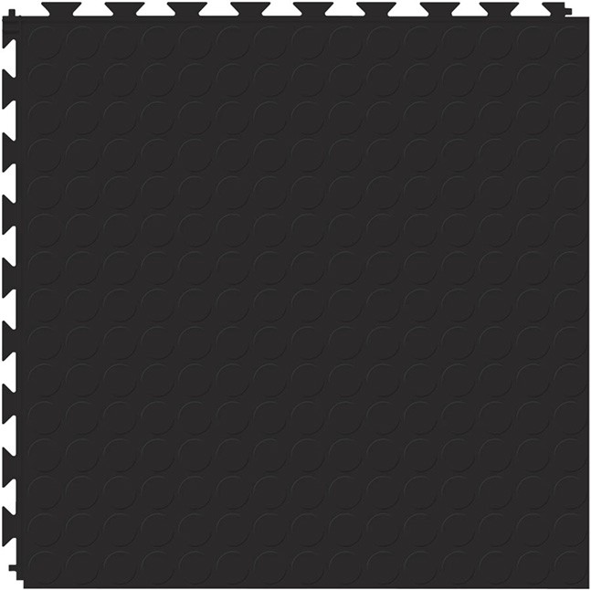 Tuff Seal Hidden Interlock Vinyl Floor Tile, Color: Black, Pattern: Stud