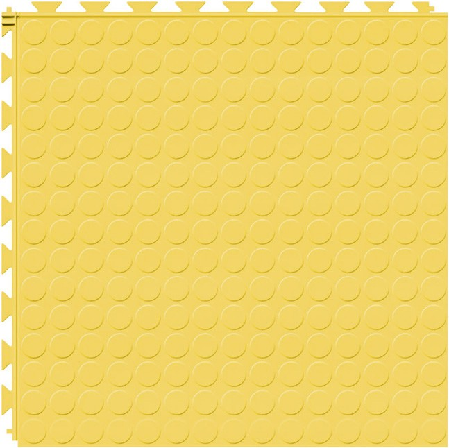 Tuff Seal Hidden Interlock Vinyl Floor Tile, Color: Yellow, Pattern: Stud