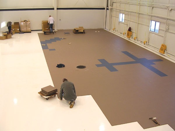 Tuff Seal Hidden Interlock Vinyl Floor Tile, Airplane hangar floor