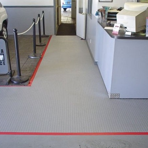 Tuff Seal Hidden Interlock Vinyl Floor Tile, Commercial automobile repair entrance flooring