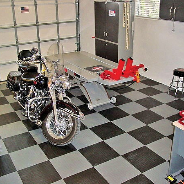 Tuff Seal Hidden Interlock Vinyl Floor Tile, Residential motorcycle garage flooring